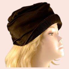 ca 1920's Black Satin & Pleat Cloche Hat MASS Paris New York