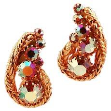 Hattie Carnegie Classic and Elegant Signed Rhinestone Earrings