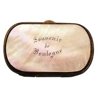 Souvenir Boulogne MOP Sterling Small Coin Purse ca late 1800's