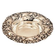ca 1920's Alvin Company Dish Sterling Silver Floral Repousse 67.2 gms.