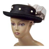 Dramatic Black Wool Church Hat