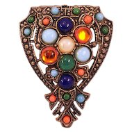 Small Colorful Glass Cabochons Vintage Fur Clip