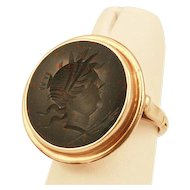 Antique 14k Yellow Gold Bloodstone Intaglio Ring with Roman Soldier