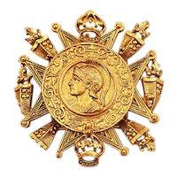 Hattie Carnegie Brooch Pendant Big & Bold in Brass Coin Motif