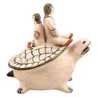 Vintage Signed Seferina Ortiz Cochiti Pueblo Pottery Turtle