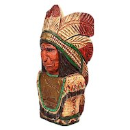 """Vintage Wooden Hand Carved Cigar Store Indian Bust - 25"""" Tall"""