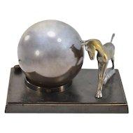 An Absolute Treasure Rare Greist Co. Hand Blown Mercury Glass & Bronze Globe Lamp
