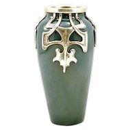Antique Art Nouveau Pewter on Ceramic Porcelain Vase