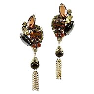 Elegant and Classic Alice Caviness Rhinestone Dangle Earrings