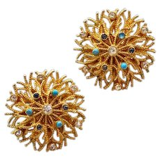 Vibrant Vintage Goldtone Corocraft Earrings