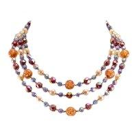 Sparkly, Stylish Vintage West Germany 3-Strand Art Glass Necklace
