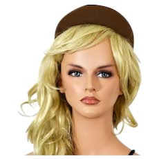 Darling Chocolate Brown 1940's Wool Beanie Shaped Hat with Matching Hat Pin