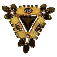 Stand-Out Big Bold Geometric Triangular Vintage Rhinestone Brooch