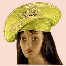 Vintage Gorgeous One of a Kind Jack McConnell Chartreuse Straw & Rhinestone Hat
