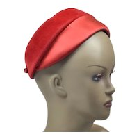 Funky Bright Red Vintage Lord & Taylor Hat with Velour and Satin