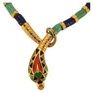 Classic Hattie Carnegie Egyptian Revival Snake Necklace