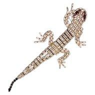 Vintage Weiss Co. Articulated Baguette Rhinestone Gecko Brooch