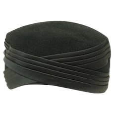 Vintage 1950's Black Wool Pillbox Hat with Satin Detail