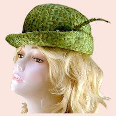 Vintage Jack McConnell Original Mint Green Feather Hat