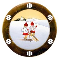 "Irresistible German Brass Framed Porcelain ""Skiing Children"" Plate Darling!"