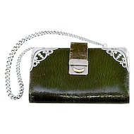 ca 1904 Krumm Heavily Hallmarked Green Leather and Sterling Silver Coin Purse