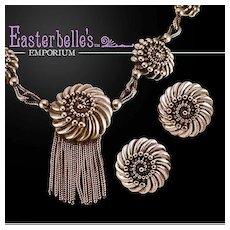 Schiaparelli Silver-Tone Scallop & Snake Chain & Necklace Earring Set
