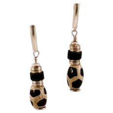 OOAK Sterling Silver, Onyx & African Trade Bead Earrings