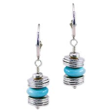 OOAK Davison Blue Green Turquoise and .925 Sterling Earrings