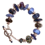 OOAK Davison Dreamy Blues Lampwork Glass Beads & Sterling with Special Toggle Bracelet