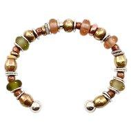 OOAK Davison Sterling Silver, Brass, 18K Accented Art Glass & African Bead Cuff