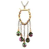 OOAK Davison Brass, Swarovski Crystal, and Ruby-Zoisite Bead Necklace