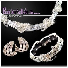 Elegant Vintage Boucher Brilliant Rhinestone Necklace, Bracelet, Earrings Parure Set