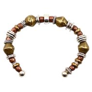 Unusual OOAK Davison Sterling Silver and African Trade Bead Bracelet