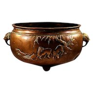 Antique Oriental Brass Heavy and Beautifully Decorated Large Cauldron