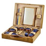 Deco Era Guilloche Enameled Toiletry 8 Piece Travel Set in Original Case