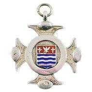 Antique ca 1858 James Fenton Fully Hallmarked British Sterling Silver Cross Medal