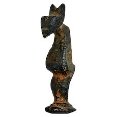Ancient ca 1,000 to 1,400 A.D. Seljuq Empire Bronze Cat Figurine - Book Piece
