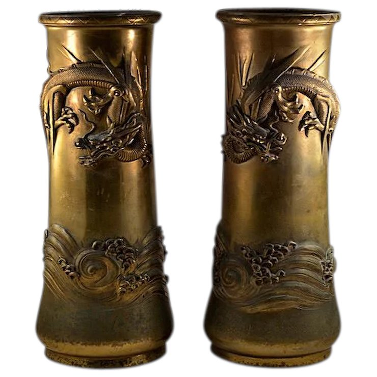Antique Japanese Brass Dragon Rare Vase Set Gorgeous Huge