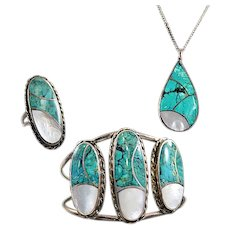 Vintage Nelson Lee Navajo Turquoise and Mother of Pearl Signed Parure