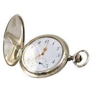 Antique Niello Swiss Pocket Watch Sterling Silver Nouveau Engraving 9K Gold Cartouche Half Hunter Case Style