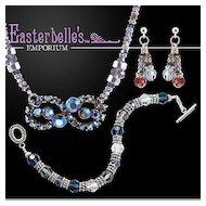 OOAK Davison Sparkling Swarovski Crystal Parure with Vintage Components