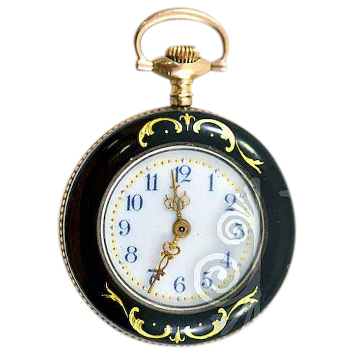 32d311120 14K Gold and Guilloche Enameled Helbros Ladies' Pocket Watch with 12K :  Easterbelle's Emporium | Ruby Lane