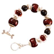 OOAK  Davison Blood Reds Art Glass & Onyx Bead Bracelet