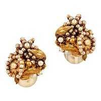 "Vintage Miriam Haskell ""Baroque"" Style Earrings with Glass Pearls"