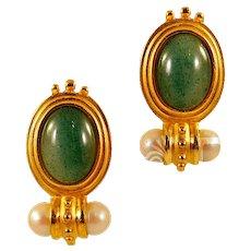 Elegant Schiaparelli Earrings with Faux Jade Cabochon Detail Etruscan Revival Design