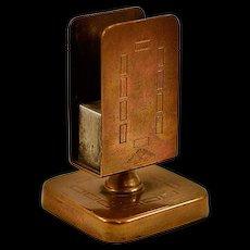 Vintage Bradley & Hubbard Bronzed Brass Match Safe with Striker Pad