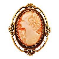 Antique 14 Karat Gold Cameo Brooch Pendant