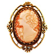 Antique 14 Karat Gold Cameo Brooch Pendant
