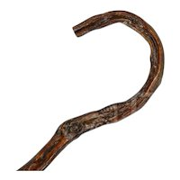 """Awesome Antique """"Crooked"""" Cane with Hooked Handle"""