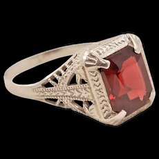 Vintage Ostby Barton 14 Karat White Gold Ring with Red Garnet
